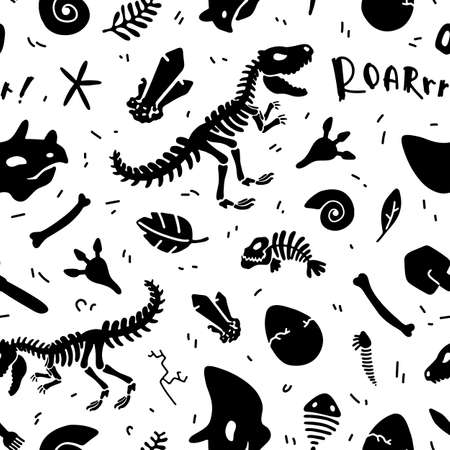 Dinosaur skeleton and fossils. Vector seamless pattern. Original design with t-rex, dinosaur bones, stones, traces, plants and eggs. Print for T-shirts, textiles, web. White background.