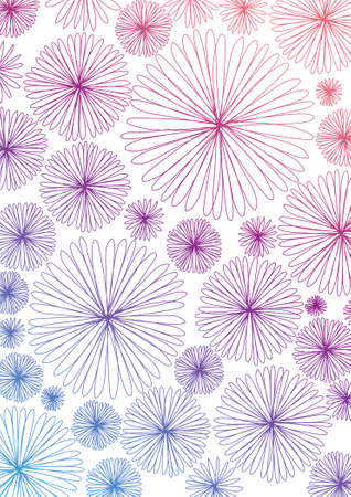 Flower Background Blue Pink Vector. Colorful spring pattern. Greeting postcard.