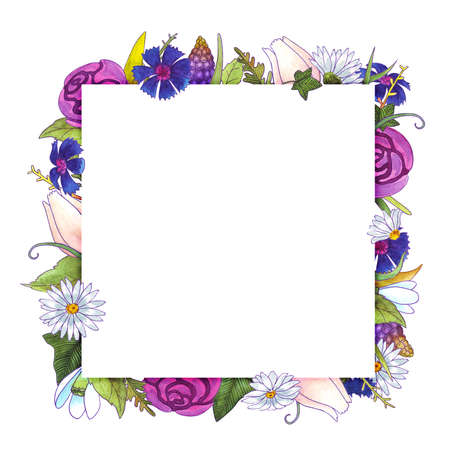 Watercolor flowers frame. Springtime. Roses, tulips, cornflowers, snowdrops, chamomiles muscari and leaves. Healing Herbs for cards, wedding invitation, posters, save the date or greeting design.