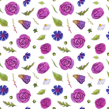Watercolor flowers seamless pattern. Springtime. Roses, tulips, cornflowers, snowdrops, chamomiles, muscari and leaves. Healing Herbs for textile, cards, wedding invitation, posters. Isolated on white