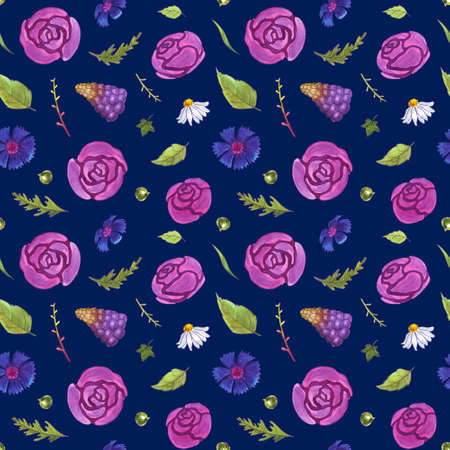 Watercolor flowers seamless pattern. Springtime. Roses, tulips, cornflowers, snowdrops, chamomiles, muscari and leaves. Healing Herbs for textile, cards, wedding invitation, posters. Dark background.