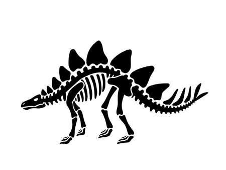 Dinosaur stegosaurus skeleton. Vector illustration. For card, T-shirts, textiles, web. Isolated on white background.  イラスト・ベクター素材