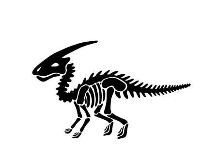 Dinosaur parasaurolophus skeleton. Vector illustration. For card, T-shirts, textiles, web. Isolated on white background.