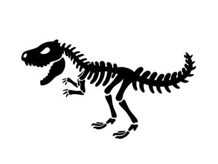 Dinosaur Tyrannosaurus skeleton. Vector illustration. For card, T-shirts, textiles, web. Isolated on white background.  イラスト・ベクター素材