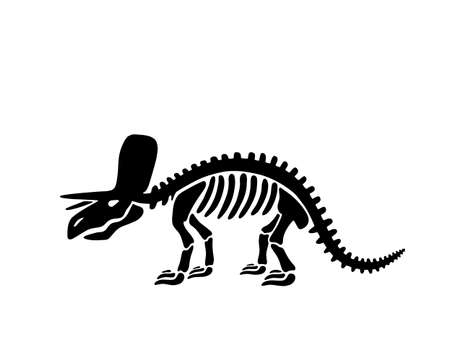 Dinosaur triceratops skeleton. Vector illustration. For card, T-shirts, textiles, web. Isolated on white background.  イラスト・ベクター素材