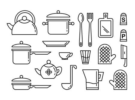 Set of kitchen utensils linear art icon. Collection of illustrations for print, web, banner, poster, card, logotype. Isolated on white background. Vector