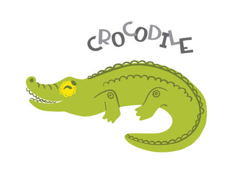 Crocodile cartoon character with lettering. Illustration isolated on white background. Concept for poster, card,  web, kids print, textile. Vector  イラスト・ベクター素材