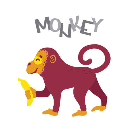 Monkey cartoon character with banana and lettering. Concept web, poster, card,  kids print, textile. Isolated on white background. Vector  イラスト・ベクター素材