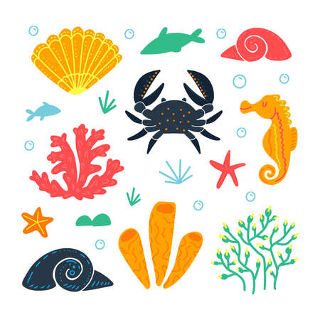 Set of marine animals and elements. Underwater life. Seaweed, crab, fish, seashell, seahorse, bubbles, starfish. Isolated on white background. Vector