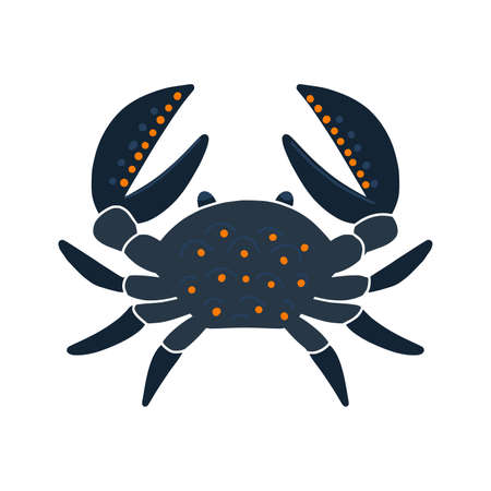 Sea dark blue cartoon crab illustration isolated on white background. Crab silhouette.  poster, card, web. Vector