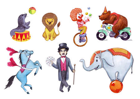 Circus, show, performance. Watercolor illustration set of circus artists for postcards, posters, business cards, banners. Isolated on white background.