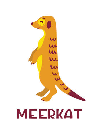 Meerkat stands in the counter. Cute cartoon character. Color illustration isolated on white background. Concept for prints, cards, posters, web, textiles.