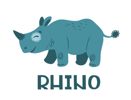 Rhinoceros.  Cute cartoon character. Color illustration isolated on white background. Concept for prints, cards, posters, web, textiles.