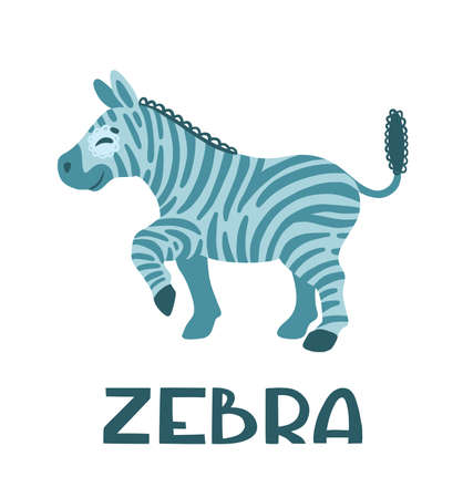 Playful zebra.  Cute cartoon kids character. Color illustration isolated on white background. Concept for prints, cards, posters, web, textiles.