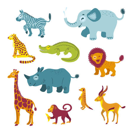 Set of African animals. Savannah zoo clipart isolated on white background. Illustrations for childrens books, t-shirts, Wallpapers, textiles, posters, cards,  web. Vector Illustration