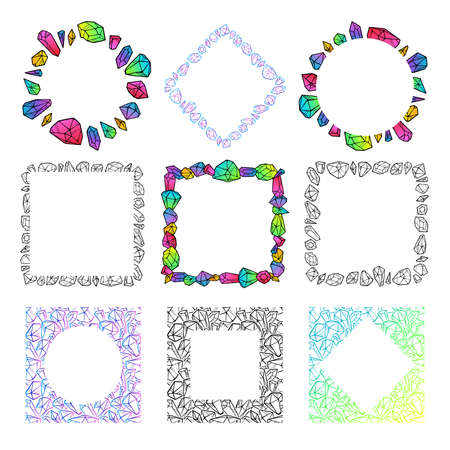 Set of crystals frames templates. Colored and black cute illustration for banners, posters, postcards, logotypes, web. Isolated on white background. Vector.  イラスト・ベクター素材