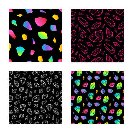 Set of crystal colored seamless pattern on black background. Vector
