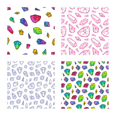 Set of crystal colored seamless pattern isolated on white background. Vector  イラスト・ベクター素材