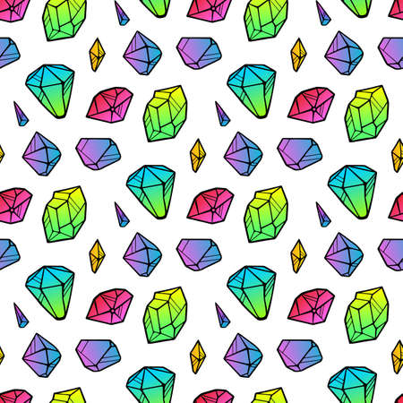Vector line color neon crystals seamless pattern isolated on white background. Outline sign kit of gemstone. Crystal thin line icons set. Mineral linear icon collection. Diamond, emerald, aquamarine.