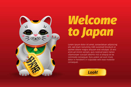 Banner Welcome to Japan Maneki Neko  lucky cat with golden coin. Realistic Illustration on red background.