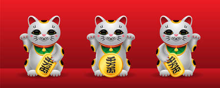 Three various Maneki Neko japan lucky cats with golden coin. Realistic Illustration on red background. Vector set