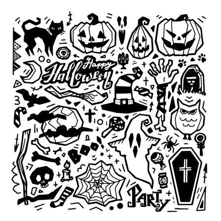 Happy Halloween set illustration isolated on white background. Lettering, cat, pumpkins, hat, broom, skull, spider, monster, bat. Black line art collection characters and elements for holiday. Vector