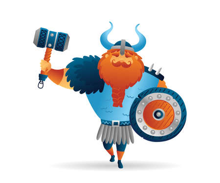 Cartoon viking strong man character with torus hammer and shield. Funny cartoon. Vector illustration isolated on white background for poster, card, web, logo
