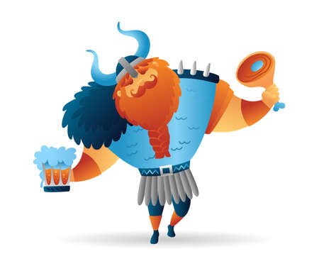 Cartoon viking strong drunk man character with meat and beer. Funny cartoon. Illustration isolated on white background for poster, card, web, logo. Vector