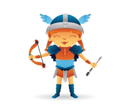 Cartoon viking cute smiling girl character with bow and arrow. Funny kids cartoon. Vector illustration isolated on white background for poster, card, web, logo