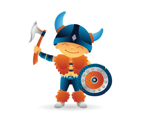 Cartoon viking smiling boy norwegian, scandinavian character with shield and axe. Funny kids cartoon. Vector illustration isolated on white background for poster, card, web.  イラスト・ベクター素材