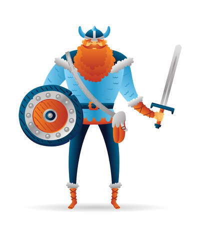 Cartoon warrior viking cute character with sword and shield. Funny cartoon. Vector illustration isolated on white background for poster, card, web.
