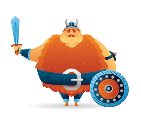 Cartoon viking cute fat norwegian, scandinavian character with sword and shield. Funny kids cartoon. Vector illustration isolated on white background for poster, card, web.
