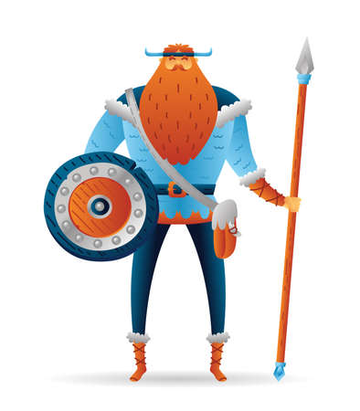 Cartoon warrior viking cute character with lance and shield. Funny cartoon. Vector illustration isolated on white background for poster, card, web.