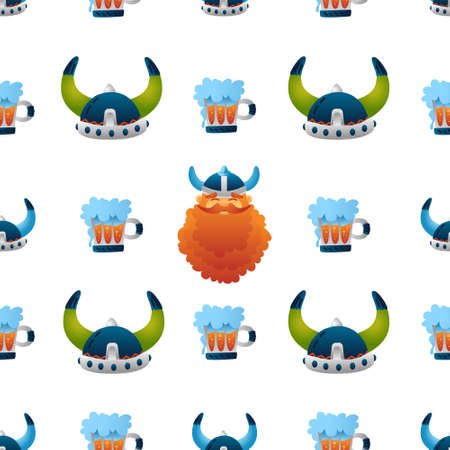 Viking seamless pattern, cute helmets, beer, warrior character. Funny colorful illustration for kids. Isolated on white background. Print, tshirt, fabric. Vector