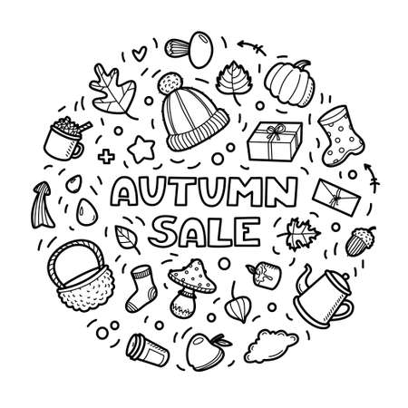 Autumn lineart icons doodles elements collection. Vector set isolated on white background. Sale lettering for banner, coloring book, poster, card, print, web. Hand drawn elements.