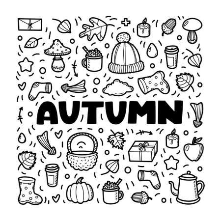 Colección de elementos de garabatos de iconos de lineart de otoño. Vector conjunto de línea negra aislado sobre fondo blanco. Letras de otoño para banner, libro para colorear, cartel, tarjeta, impresión, web. Elementos dibujados a mano.