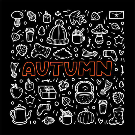 Autumn lineart icons doodles elements collection. Vector set white on black background. Lettering Autumn for banner, poster, card, print, web. Hand drawn elements.