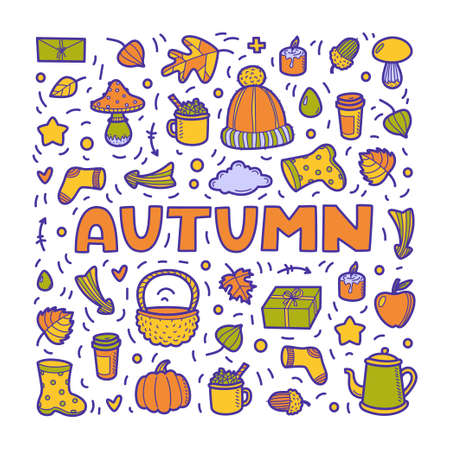 Autumn lineart icons doodles elements collection. Vector set isolated on white background. Lettering Autumn for banner, poster, card, print, web. Hand drawn elements.  イラスト・ベクター素材