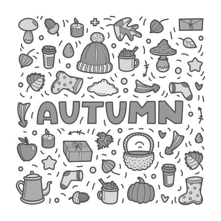 Autumn lineart icons doodles elements collection. Vector grey scale set isolated on white background. Lettering Autumn for banner, poster, card, print, web. Hand drawn elements.