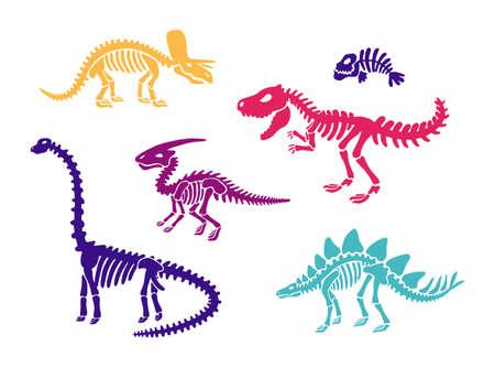 Dinosaur skeleton fossils set diplodocus, triceratops, trex, stegosaurus, parasaurolophus, fish. Collection illustration. Clip art, card, T-shirts, textiles. Isolated on white background. Vector  イラスト・ベクター素材