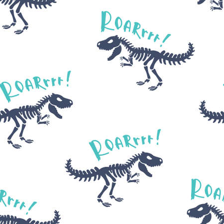 Dinosaurs skeletons fossils tyrannosaur seamless pattern. Original print for T-shirts, textiles, web.  Isolated on white background. Vector illustration