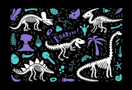 Dinosaur skeleton fossils set diplodocus, triceratops, trex, stegosaurus, parasaurolophus, fish. Collection illustration. Clip art for  logo, card, T-shirts, textiles, web. On black background. Vector  イラスト・ベクター素材