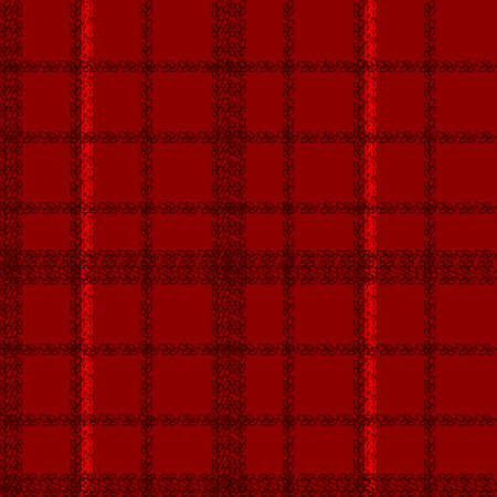 Scottish cage seamless pattern. Black and red tartan plaid background. Texture from clothes, dresses, blankets, plaid, tablecloths, fabric, shirts, paper, bedding,  textile products. Vector  イラスト・ベクター素材