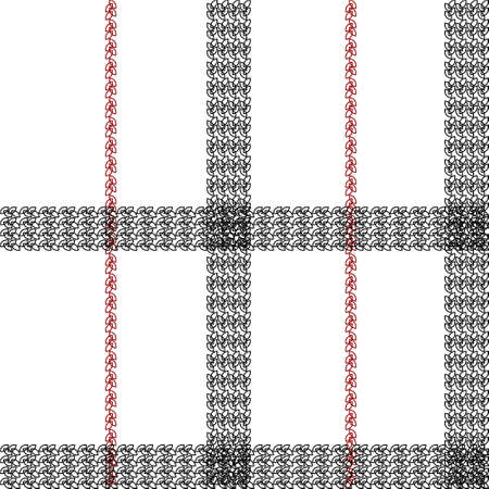 Scottish cage seamless pattern. Black, white and red tartan plaid background. Texture from clothes, dresses, blankets, plaid, tablecloths, fabric, shirts, paper, bedding, textile products. Vector