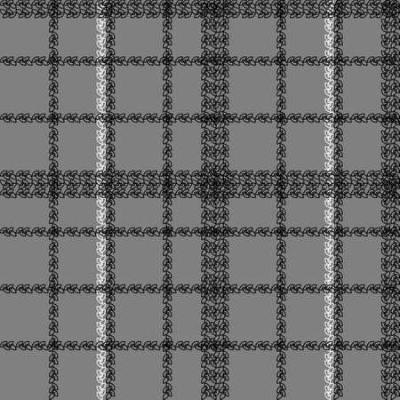 Scottish cage seamless pattern. Black, white and grey tartan plaid background. Texture from clothes, dresses, blankets, plaid, tablecloths, fabric, shirts, paper, bedding, textile products. Vector