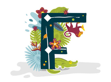 Tropical exotic letter F, animals, flowers. Cute cartoon flat style font