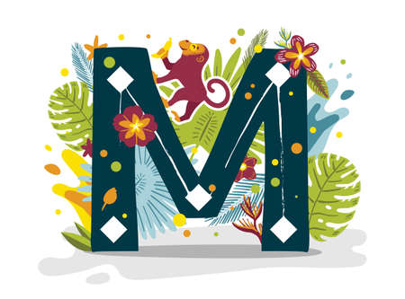 Tropical exotic letter M, animal monkey, flowers. Cute cartoon flat style font, concept illustration isolated on white background. Vector