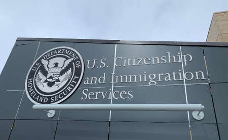 Helena, Montana - February 21, 2021: United States Citizenship and Immigration Services office, Homeland Security, federal government building seal, naturalization and asylum headquarters, logo, sign