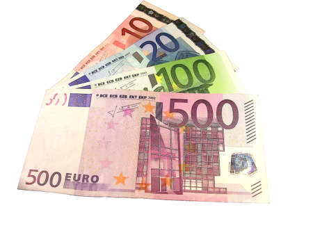 transact: Euro banknotes of different denomination on a white background Stock Photo