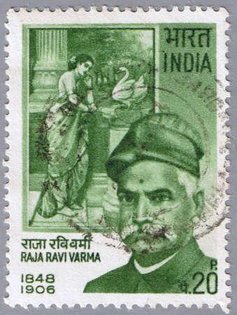 INDIA - CIRCA 1971: A stamp printed in India shows a portrait of the Indian painter Raja Ravi Varma, circa 1971 Stock Photo - 7883636